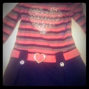 Red grey and black dress with silver belt